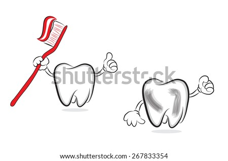 Tooth with toothbrush and toothpaste chasing another tooth - stock vector