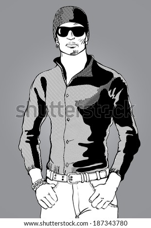 tough guy with glasses silhouette black and white.vector illustration - stock vector