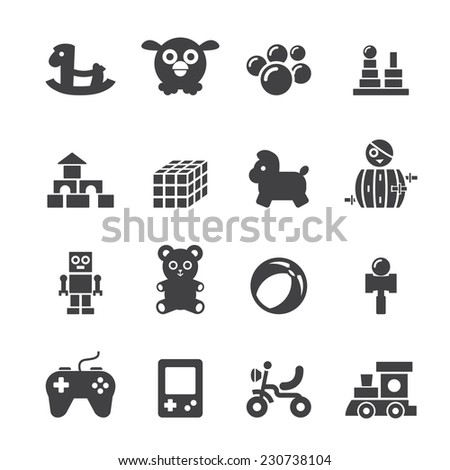 toy icon set - stock vector