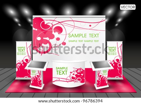 trade exhibition stand with  lcd monitor - stock vector