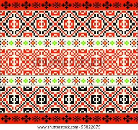 3 Traditional Folk Patterns - stock vector