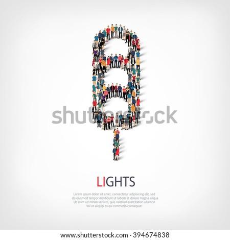 traffic lights people vector - stock vector