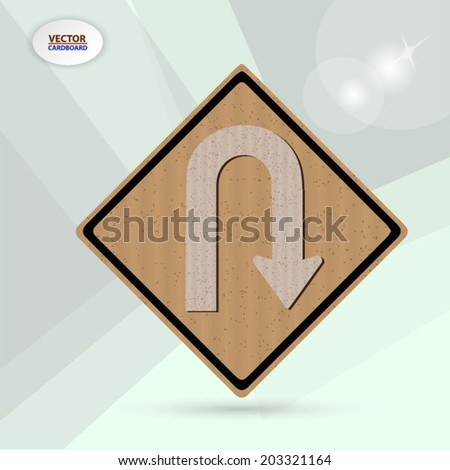Traffic U-Turn Road sign. cardboard vector background - stock vector