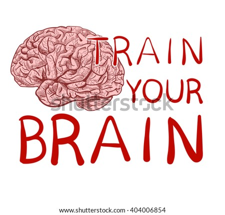 'Train your brain' text with hand drawn brain sketch. VECTOR illustration, red handwritten letters.  - stock vector