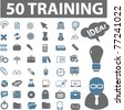 50 training icons, signs, vector illustrations - stock vector