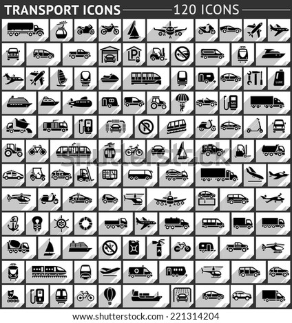 120 Transport flat icon, gray color - stock vector