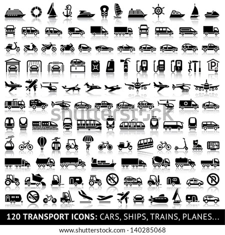 120 Transport icon with reflection: Cars, Ships, Trains, Planes..., vector illustrations, set silhouettes isolated on white background. - stock vector