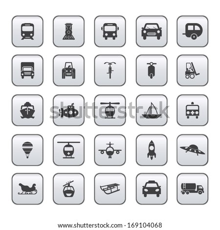 Transportation icon set on gray - stock vector