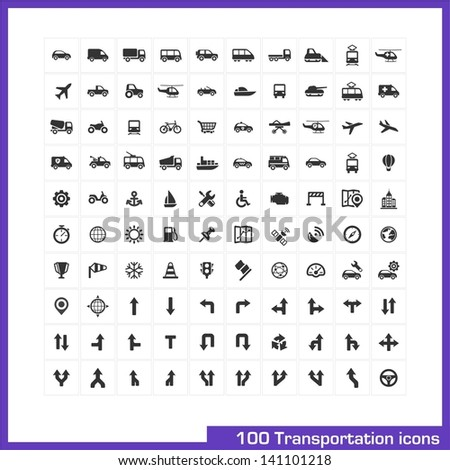 100 transportation icons set. Vector black pictograms for business, industry, navigation, web, internet, computer and mobile apps: car, ship, airplane, helicopter, bicycle, motorcycle, tram symbols - stock vector