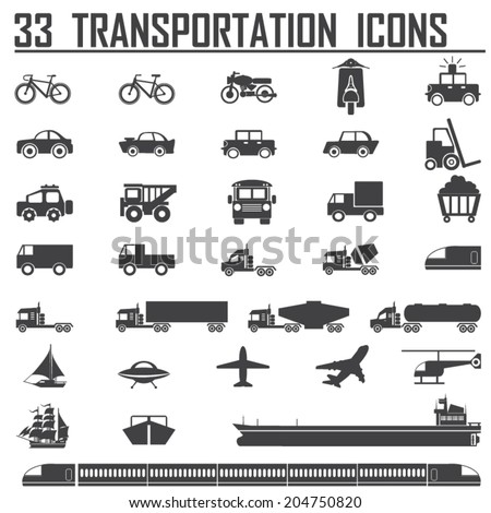 33 transportation icons sets - stock vector