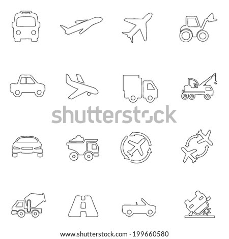 Transportation icons thin line drawing by hand Set 8  - stock vector