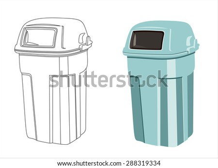 trash bin isolated on white background - stock vector