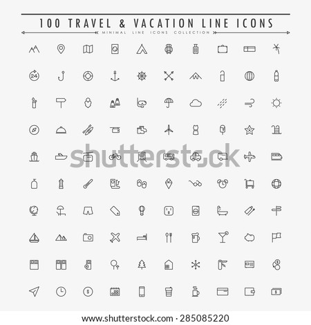 100 travel and vacation minimal line icons collection vector - stock vector