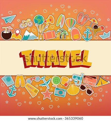 Travel - Doodle Elements. Thin Line Icons. Vector Illustration