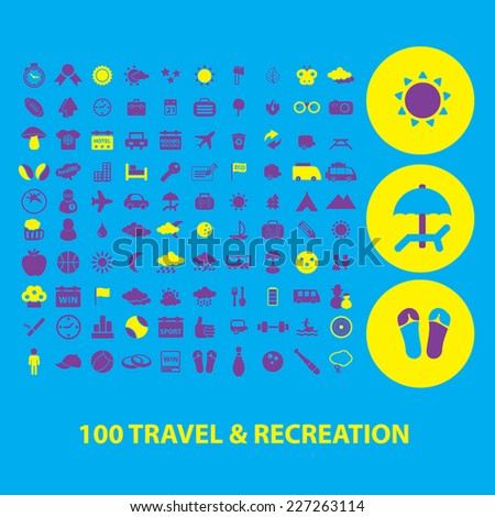 100 travel icons - stock vector