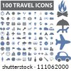 100 travel icons set, vector - stock