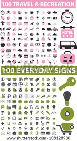 200 travel & recreation & everyday icons set, vector - stock vector