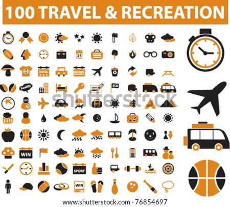 100 travel & recreation icons, signs, vector illustrations - stock vector
