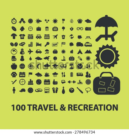 100 travel, recreation, vacation icons, signs, illustrations set, vector - stock vector