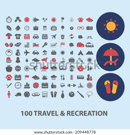 100 travel, vacation icons, signs, objects set, vector - stock vector
