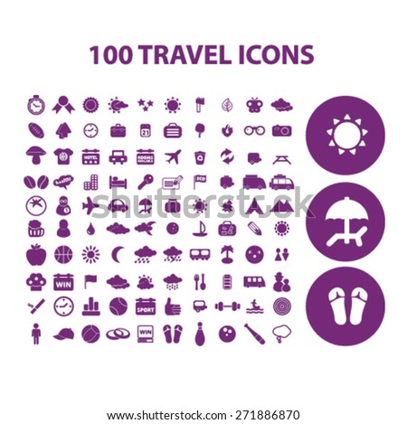 100 travel, vacation, recreation icons, signs, illustrations set, vector - stock vector