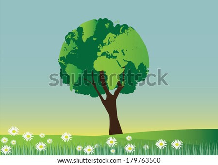 Tree forming the world globe in its branches and leaves - stock vector