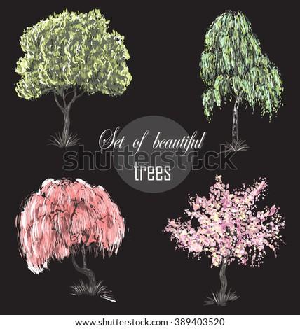 trees vector /  trees  set  /  trees vector/ Beautiful trees set / amazing trees /  trees illustration / Cherry blossoms / cherry tree /  tree Japanese /  tree European /  tree art /   tree EPS   - stock vector