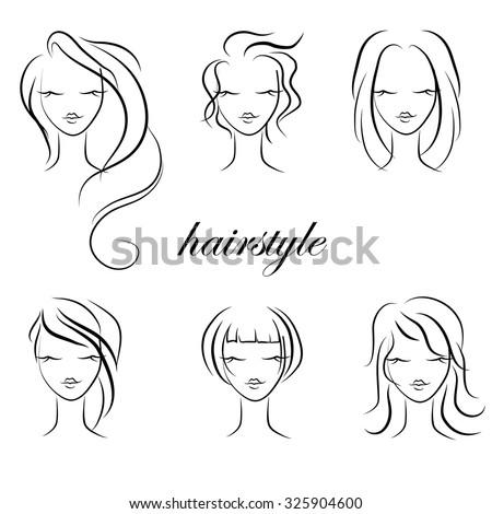 Trendy hairstyles for women, vector - stock vector