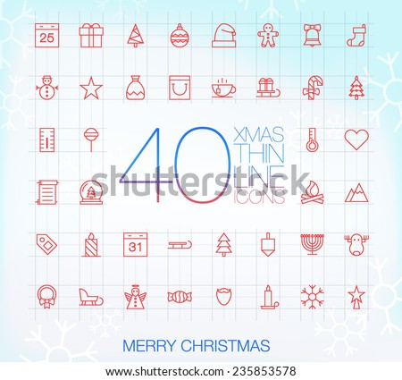 40 Trendy Thin Icons for web and mobile: Merry Christmas - stock vector