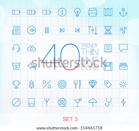 40 Trendy Thin Icons for web and mobile Set 3 - stock vector