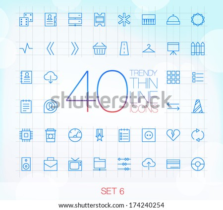 40 Trendy Thin Icons for web and mobile Set 6 - stock vector