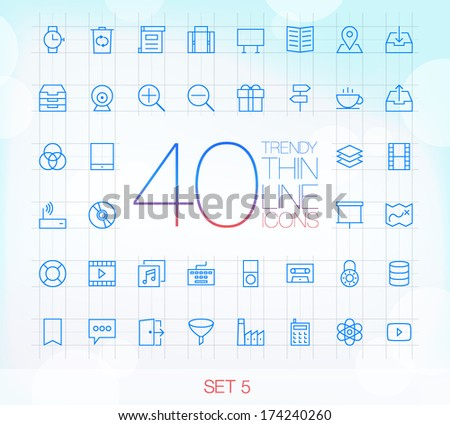 40 Trendy Thin Icons for web and mobile Set 5 - stock vector