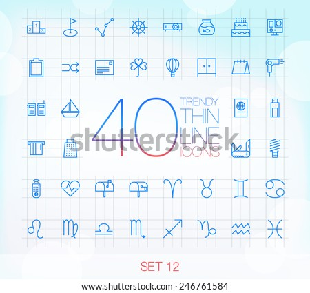 40 Trendy Thin Icons for web and mobile Set 12 - stock vector