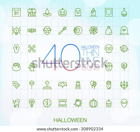 40 Trendy Thin Icons Halloween Set - stock vector