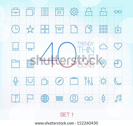 40 Trendy Thin Line Icons for web and mobile Set 1 - stock vector