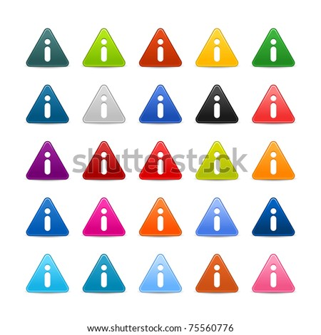 25 triangular web buttons with information sign. Colored satin smooth icon with shadow on white - stock vector