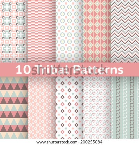 10 Tribal vector seamless patterns (tiling). Endless texture can be used for wallpaper, pattern fill, web page background, surface textures. Set of aztec geometric ornaments. - stock vector