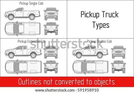 Truck pickup types template blueprint drawing stock vector truck pickup types template blueprint drawing outline strokes not expanded malvernweather Images