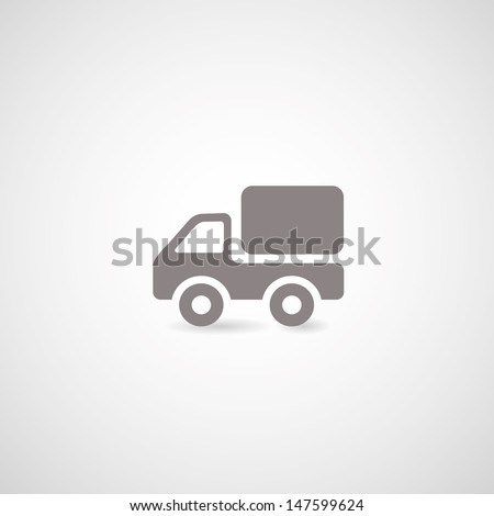 truck symbol on gray background - stock vector