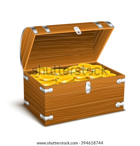 trunk chest full of gold coins treasures - stock vector