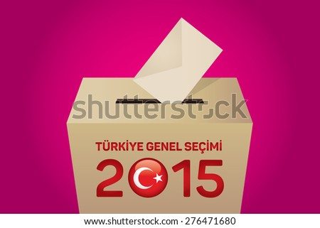 2015 Turkish General Election (Turkish: Turkiye Genel Secimi), Vote Box - Magenta Background - stock vector