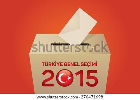 2015 Turkish General Election (Turkish: Turkiye Genel Secimi), Vote Box - Orange Background - stock vector
