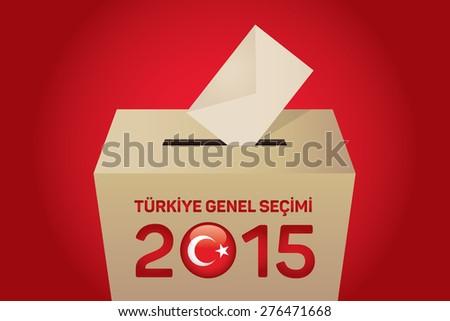 2015 Turkish General Election (Turkish: Turkiye Genel Secimi), Vote Box - Red Background - stock vector
