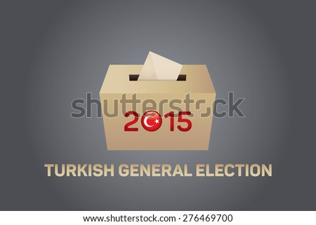 2015 Turkish General Election, Vote Box - Gray Background - stock vector