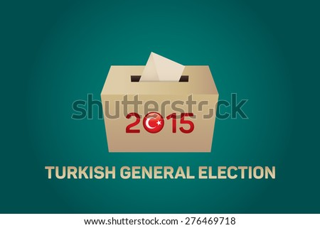 2015 Turkish General Election, Vote Box - Green Background - stock vector