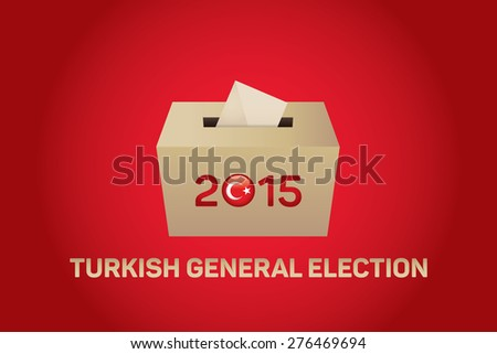 2015 Turkish General Election, Vote Box - Red Background - stock vector