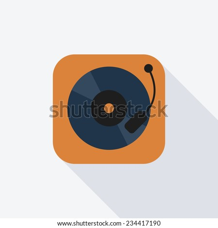 Turntable flat icon. Modern flat icons with long shadow effect in stylish colors. Icons for Web and Mobile Application. EPS 10. - stock vector
