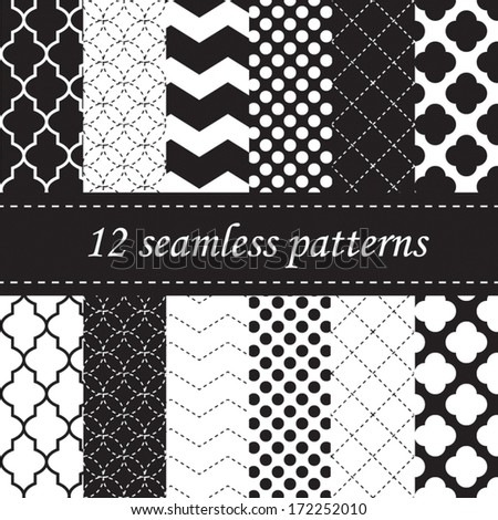 Twelve seamless geometric patterns with quatrefoil, chevron and polka dot designs, in black and white - stock vector