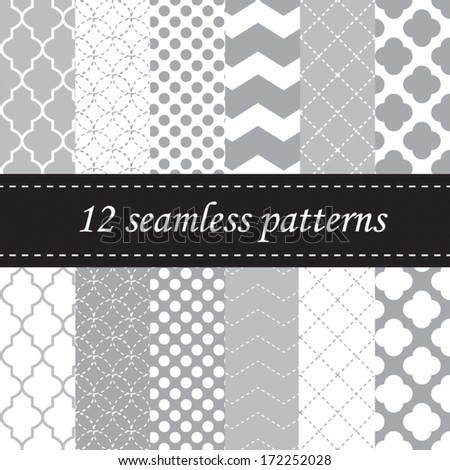 Twelve seamless geometric patterns with quatrefoil, chevron and polka dot designs, in light grey - stock vector