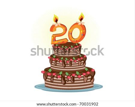 """twentieth anniversary"",birthday pie - stock vector"